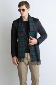 клетчатый кашемировый тёплый шарф (100% драгоценный кашемир) , расцветка Блэк Уотч Черная Стража Британской Империи Blackwatch tartan, плотность 7