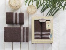 Комплект из 2-х махровых полотенец PETEK 50*90+70*140 (коричневый) Арт.2040-1