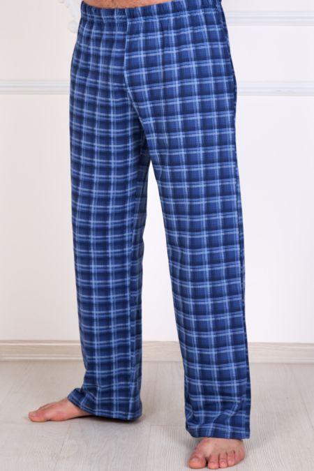 Мужские трикотажные брюки с карманами (синие), кулирка