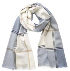 легкий тонкорунный экстра широкий шарф Тонал Блу  Tonal Blue Off centred Check  100% шерсть мериноса,   плотность 2