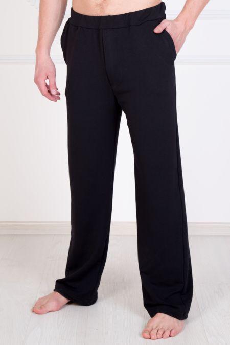 Мужские черные трикотажные брюки с карманами, футер