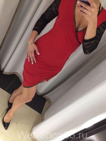 Модное цвета марсала асимметричное платье с гипюром