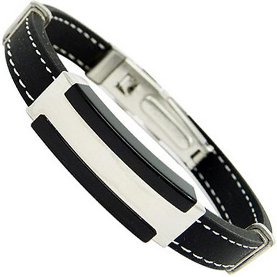 Каучуковый браслет со сталью