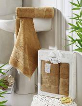Комплект из 2-х бамбуковых полотенец PANDORA 50*90+70*140(горчичный) Арт.2197-8