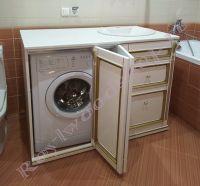 """Тумба под стиральную машину """"Руссильон PROVENCE-120"""" белая с золотом"""