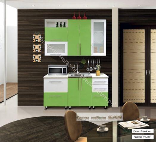 Кухонный гарнитур Ника-1 (фасад-Мыло) 1.6 м Салат