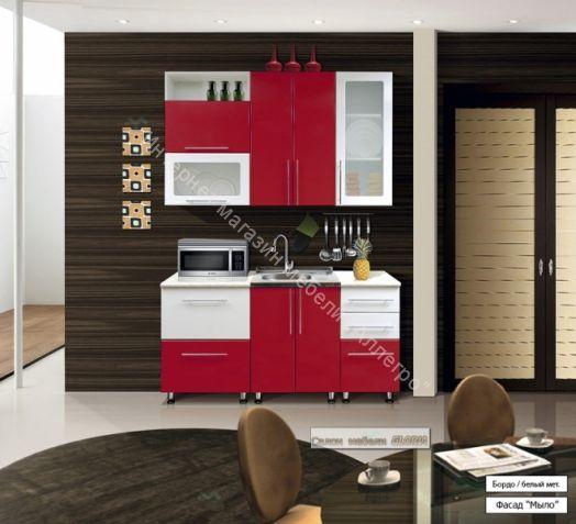Кухонный гарнитур Ника-1 (фасад-Мыло) 1.6 м Бордо h918