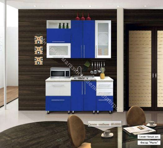 Кухонный гарнитур Ника-1 (фасад-Мыло) 1.6 м Синий