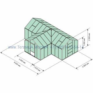 Алюминиевая теплица Botanik T с тамбуром 24 кв.м , покрытие - монолитный поликарбонат Polygal 6 мм на крыше и 4 мм на стенках