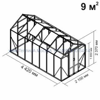 Стеклянная теплица Botanik Mini 9 кв.м алюминиевая, покрытие - монолитный поликарбонат Polygal 6 мм на крыше и 4 мм на стенках