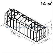 Стеклянная теплица Botanik Mini 14 кв.м алюминиевая, покрытие - монолитный поликарбонат Polygal 6 мм на крыше и 4 мм на стенках