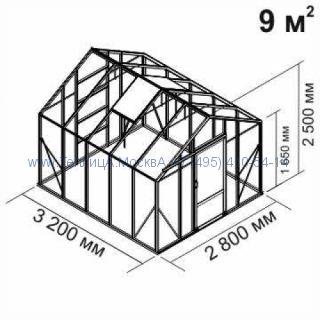 Tеплица из стеклаBotanik Standart 9 кв.м алюминиевая, покрытие - монолитный поликарбонат Polygal 6 мм на крыше и 4 мм на стенках