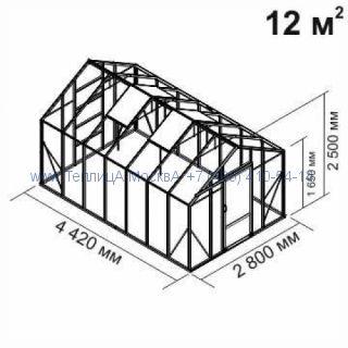Tеплица из стекла Botanik Standart 12 кв.м алюминиевая, покрытие - монолитный поликарбонат Polygal 6 мм на крыше и 4 мм на стенках