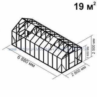Tеплица из стеклаBotanik Standart 19 кв.м алюминиевая, покрытие - монолитный поликарбонат Polygal 6 мм на крыше и 4 мм на стенках