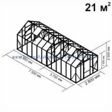 Tеплица из стекла Botanik Standart 21 кв.м с перегородкой алюминиевая, покрытие - монолитный поликарбонат Polygal 6 мм на крыше и 4 мм на стенках