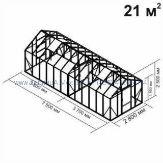 Tеплица из стеклаBotanik Standart 21 кв.м с перегородкой алюминиевая, покрытие - монолитный поликарбонат Polygal 6 мм на крыше и 4 мм на стенках