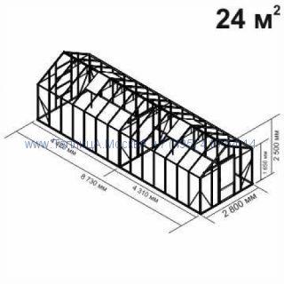 Tеплица из стеклаBotanik Standart 24 кв.м с перегородкой алюминиевая, покрытие - монолитный поликарбонат Polygal 6 мм на крыше и 4 мм на стенках