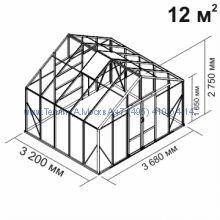 Tеплица из стекла Botanik Maxi 12 кв.м алюминиевая, покрытие - монолитный поликарбонат Polygal 6 мм на крыше и 4 мм на стенках