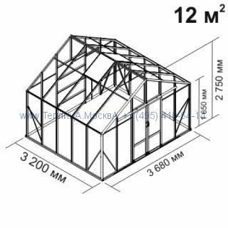 Tеплица из стеклаBotanik Maxi 12 кв.м алюминиевая, покрытие - монолитный поликарбонат Polygal 6 мм на крыше и 4 мм на стенках