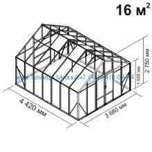 Tеплица из стекла Botanik Maxi 16 кв.м алюминиевая, покрытие - монолитный поликарбонат Polygal 6 мм на крыше и 4 мм на стенках