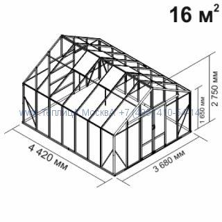 Tеплица из стеклаBotanik Maxi 16 кв.м алюминиевая, покрытие - монолитный поликарбонат Polygal 6 мм на крыше и 4 мм на стенках
