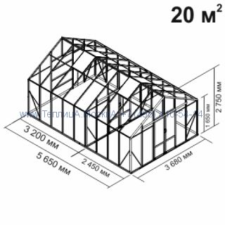 Tеплица из стеклаBotanik Maxi 20 кв.м алюминиевая, покрытие - монолитный поликарбонат Polygal 6 мм на крыше и 4 мм на стенках