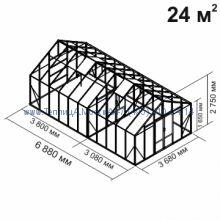 Tеплица из стекла Botanik Maxi 24 кв.м с перегородкой алюминиевая, покрытие - монолитный поликарбонат Polygal 6 мм на крыше и 4 мм на стенках
