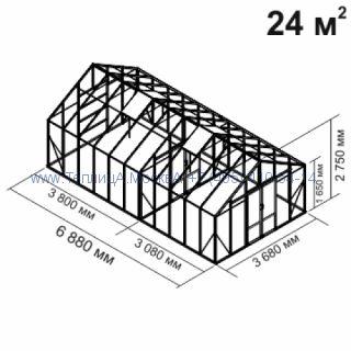 Tеплица из стеклаBotanik Maxi 24 кв.м с перегородкой алюминиевая, покрытие - монолитный поликарбонат Polygal 6 мм на крыше и 4 мм на стенках