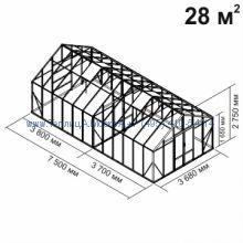 Tеплица из стекла Botanik Maxi 28 кв.м с перегородкой алюминиевая, покрытие - монолитный поликарбонат Polygal 6 мм на крыше и 4 мм на стенках