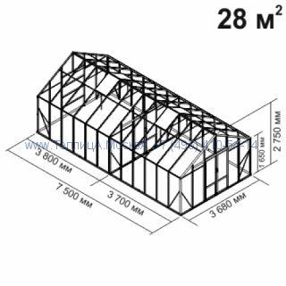 Tеплица из стеклаBotanik Maxi 28 кв.м с перегородкой алюминиевая, покрытие - монолитный поликарбонат Polygal 6 мм на крыше и 4 мм на стенках