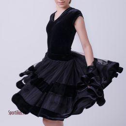 Бархатное платье для бальных танцев, черное