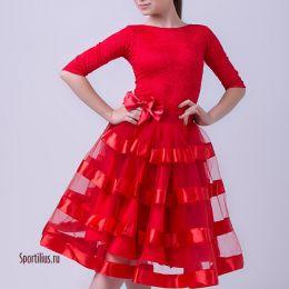 """Платье для бальных танцев """"Гламур Red"""""""