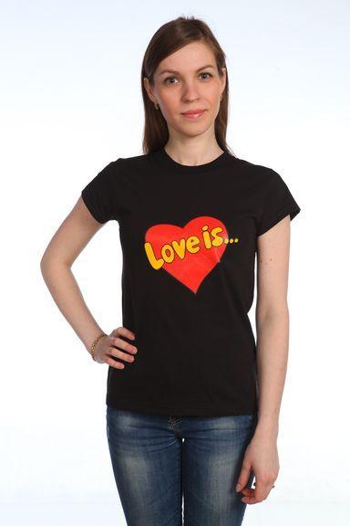 Love is черная футболка женская 50 р [распродажа]
