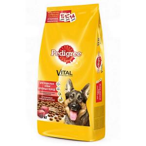 Корм сухой Pedigree для взрослых собак крупных пород с говядиной 13кг