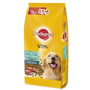 Корм сухой Pedigree для взрослых собак всех пород с говядиной 13кг