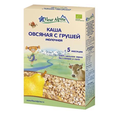 ФЛЕР АЛЬПИН каша Молочная Органик Овсяная с грушей, с 5 мес.