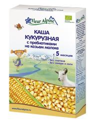 NEW ФЛЕР АЛЬПИН каша на Козьем молоке Органик кукурузная с пребиотиками,  5 мес, 200гр