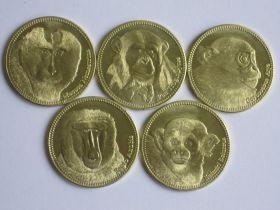 Фауна (Обезьяны) набор монет  5 шиллингов Сомалилэнд 2017 (5 монет)