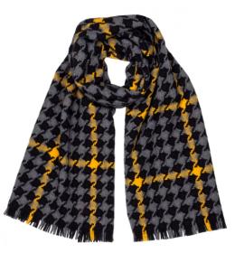 шотландский теплый плотный большой шарф с субрисунком,  100% шерсть ягненка Берти Брэмэр BERTIE BRAEMAR LAMBSWOOL. плотность 5