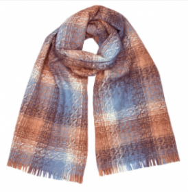 шотландский теплый плотный большой шарф с субрисунком,  100% шерсть ягненка Берти Логи BERTIE LOGIE LAMBSWOOL. плотность 5
