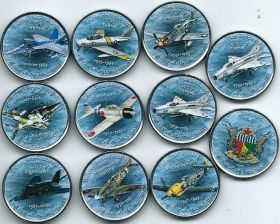 Самолёты набор монетовидных жетонов  Зимбабве 2017 (10 монет) на заказ