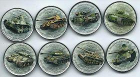 Танки набор монетовидных жетонов Зимбабве 2017 ( 8 монет)
