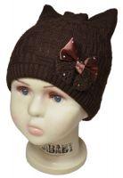 зд1016-12 Шапка рельефной вязки плетенка с украшением горький шоколад