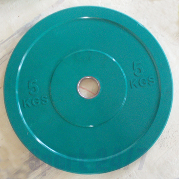 Диск технический обрезиненный 5 кг.,цвет зеленый (диаметр 450 мм)