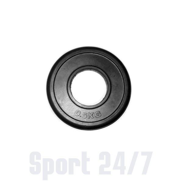 Диск 0,5 кг.обрезиненный «JOHNS» (71019-0,5В/26) d-26 мм.,цвет черный