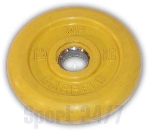 """Диск для штанги и гантелей обрезиненный """"BARBELL"""" (цветной), желтый. Масса 1,25 кг. d26мм."""
