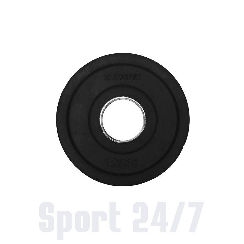 Диск олимпийский цветной   обрезиненный с хватами  HYPERSET DK4014-1.25
