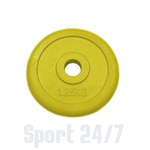 Диск 1,25 кг.обрезиненный «JOHNS» (71019-1,25C/26) d-26 мм.,цвет желтый