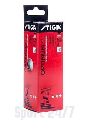 Мячи теннисные пластиковые Stiga Optimum 40+ (Белый) 3 шт 1113-1910-03