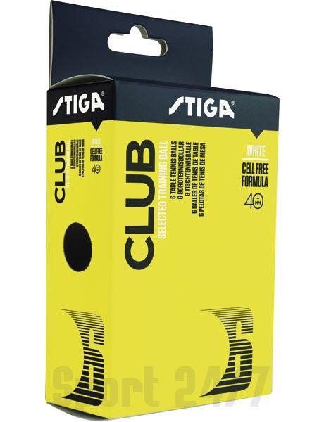 Мячи теннисные пластиковые Stiga Club 1* 40+ (Белый) 6 шт 1110-0310-06